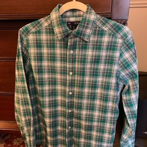 Men's XS Gap LS button down, green, blue, & white